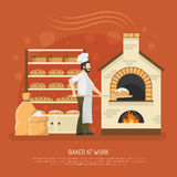 Bakery Work Illustration. Male baker working in bakery with bread on shelves flat vector illustration Stock Photography