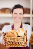 Bakery worker offering a basket of rolls Stock Photography