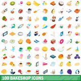 100 bakeshop icons set, isometric 3d style Stock Photo