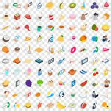 100 bakeshop icons set, isometric 3d style Royalty Free Stock Photos