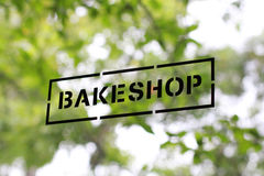 Bakeshop. Signage on the door glass Royalty Free Stock Photo