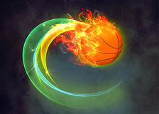 Baketball fire ball background. Basketball hoop and ball sport poster or flyer background with space Royalty Free Stock Photos