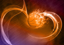Baketball fire ball background. Basketball hoop and ball sport poster or flyer background with space Stock Photography