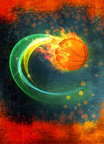 Baketball fire ball background. Basketball hoop and ball sport poster or flyer background with space Royalty Free Stock Photo