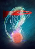 Baketball hoop and ball background. Basketball hoop and ball sport poster or flyer background with space Stock Photography