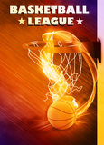 Baketball hoop and ball background. Basketball hoop and ball sport poster or flyer background with space Stock Images