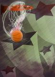 Baketball hoop and ball background. Basketball hoop and ball sport poster or flyer background with space Stock Photo