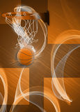 Baketball hoop and ball background. Basketball hoop and ball sport poster or flyer background with space Royalty Free Stock Photo