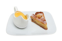 Bakewell tart and custard Stock Images