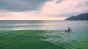 Bakflickan sitter på paddleboard i havet mot kusten arkivfilmer