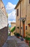 Bakgata. Montefalco. Umbria. Italien. arkivbild