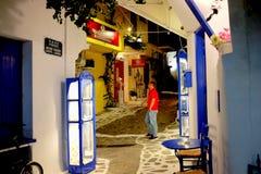 Bakgata Skiathos, Grekland fotografering för bildbyråer