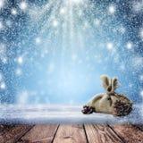 bakgrund är kan jul, designillustration somnatten använde ditt En snöstorm och en tom tabell i th Arkivfoto