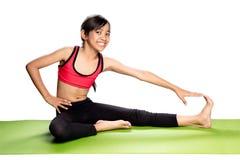 bakgrund övar för skjortasport för flicka sund isolerad s yoga för white Royaltyfri Foto