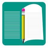 Bakgrund anteckningsbok, blyertspenna Arkivfoton