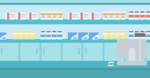 Bakgrund av apotek med kassaskrin vektor illustrationer