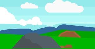 Bakgrund av bergig bygd Arkivbild