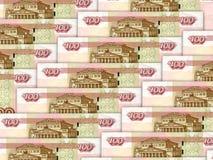 Bakgrund av bills för rouble för ryss för pengarstapel 100 Arkivfoton