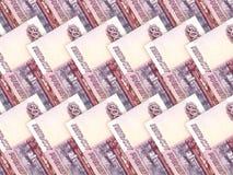 Bakgrund av bills för rouble för ryss för pengarstapel 500 Royaltyfria Bilder