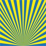 Bakgrund av blåa strålar som är gula och vektor illustrationer