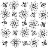 Bakgrund av blommor och bin vektor illustrationer