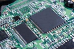 Bakgrund av chipen och processorn arkivfoton
