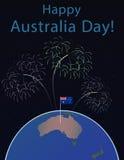 Bakgrund av den Australien dagen, nationellt berömkort, på ett jordklot planetjorden, i utrymmeflagga och honnör Royaltyfri Bild