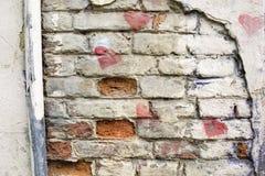 Bakgrund av den gamla tappningtegelstenväggen Royaltyfri Foto