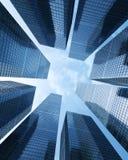 Bakgrund av den glass skyskrapan för highrisebyggnad, modern futuristisk kommersiell stadsaffärsidé av den lyckade industriaen Arkivbild