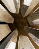 Bakgrund av den glass skyskrapan för highrisebyggnad, modern futuristisk kommersiell stadsaffärsidé av lyckat industriellt Arkivbilder