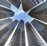 Bakgrund av den glass skyskrapan för highrisebyggnad som är modern Arkivbilder