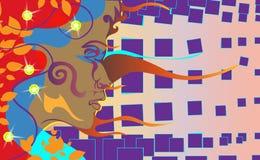 Bakgrund av den mörker flådde flickan Mulattkvinna i ett violett abstrakt område vatten för vektor för ny illustration för design vektor illustrationer