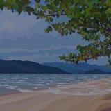 Bakgrund av den sandiga stranden för afton under markisen av träd royaltyfri illustrationer