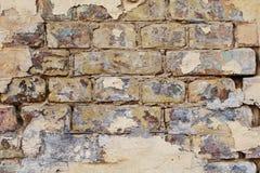 Bakgrund av den smutsiga tegelstenväggen för gammal tappning Royaltyfria Bilder