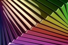 Bakgrund av den staplade metallisk reflekterande regnbåge färgade fyrkanten vektor illustrationer