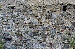 Bakgrund av den torra väggen för forntida sten i Italien Royaltyfria Bilder