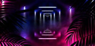 Bakgrund av det mörka rummet, tunnel, korridor, neonljus, lampor, tropiska sidor royaltyfri illustrationer