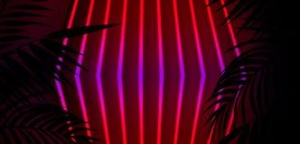 Bakgrund av det mörka rummet, tunnel, korridor, neonljus, lampor, tropiska sidor vektor illustrationer