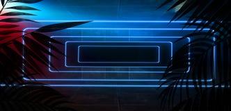 Bakgrund av det m?rka rummet, tunnel, korridor, neonljus, lampor, tropiska sidor vektor illustrationer