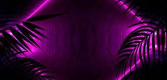 Bakgrund av det m?rka rummet, tunnel, korridor, neonljus, lampor, tropiska sidor royaltyfri illustrationer