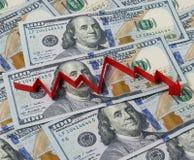 Bakgrund av dollar och pilen ner Royaltyfri Bild