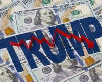 Bakgrund av dollar och pilen ner Arkivbild