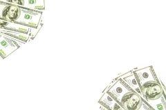 Bakgrund av 100 dollar på diagonal Arkivbild