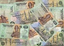 Bakgrund av egyptier 50 piastresräkningar arkivbild