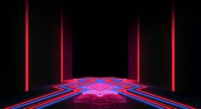Bakgrund av en tom svart korridor med neonljus Abstrakt bakgrund med linjer och glöd royaltyfri illustrationer