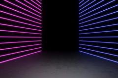 Bakgrund av en tom svart korridor med neonljus Abstrakt bakgrund med linjer och glöd framförande 3d fotografering för bildbyråer