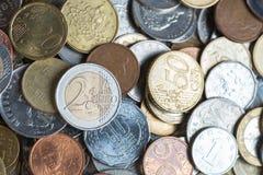Bakgrund av euroet myntar pengar royaltyfria bilder