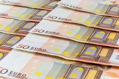 Bakgrund av 50 eurosedlar Royaltyfri Fotografi