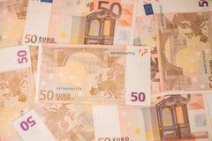 Bakgrund av eurosedlar europeiska pengar Royaltyfria Bilder