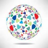 Bakgrund av färgrika hjärtor i formen av bollar med utrymme f Arkivfoto